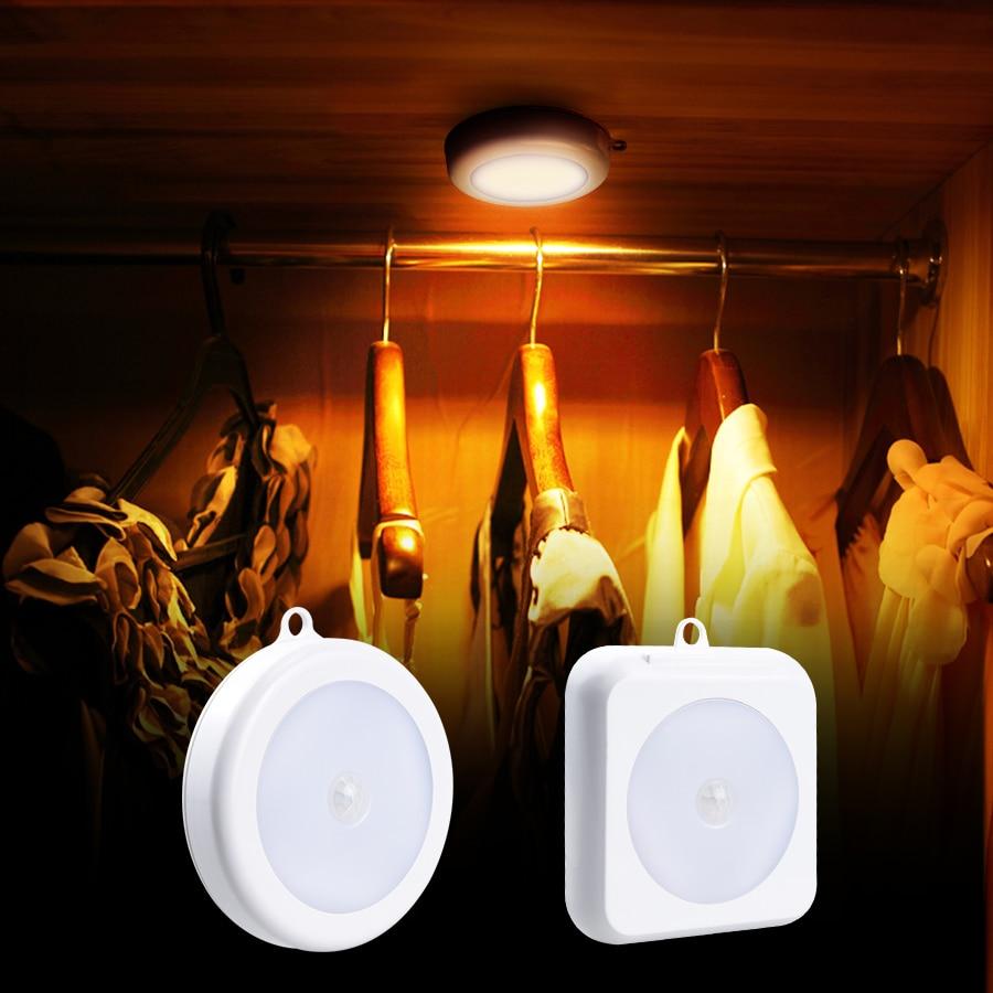 PIR Motion Sensor 6 LED Cabinet Lights Closet Wireless Wall Lamp Magnetic Corridor Stair Light Kitchen Bedroom Night Smart Lamp