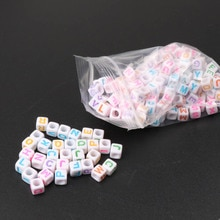6mm 400 pièces couleur mélangée lettre Alphabet Cube acrylique poney néon perles pour la fabrication de bijoux bricolage