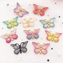 Résine papillon coloré 10 pièces 25*38mm   Nouveau, strass 1 trou plat, ornements bricolage dappliques de mariage SW75