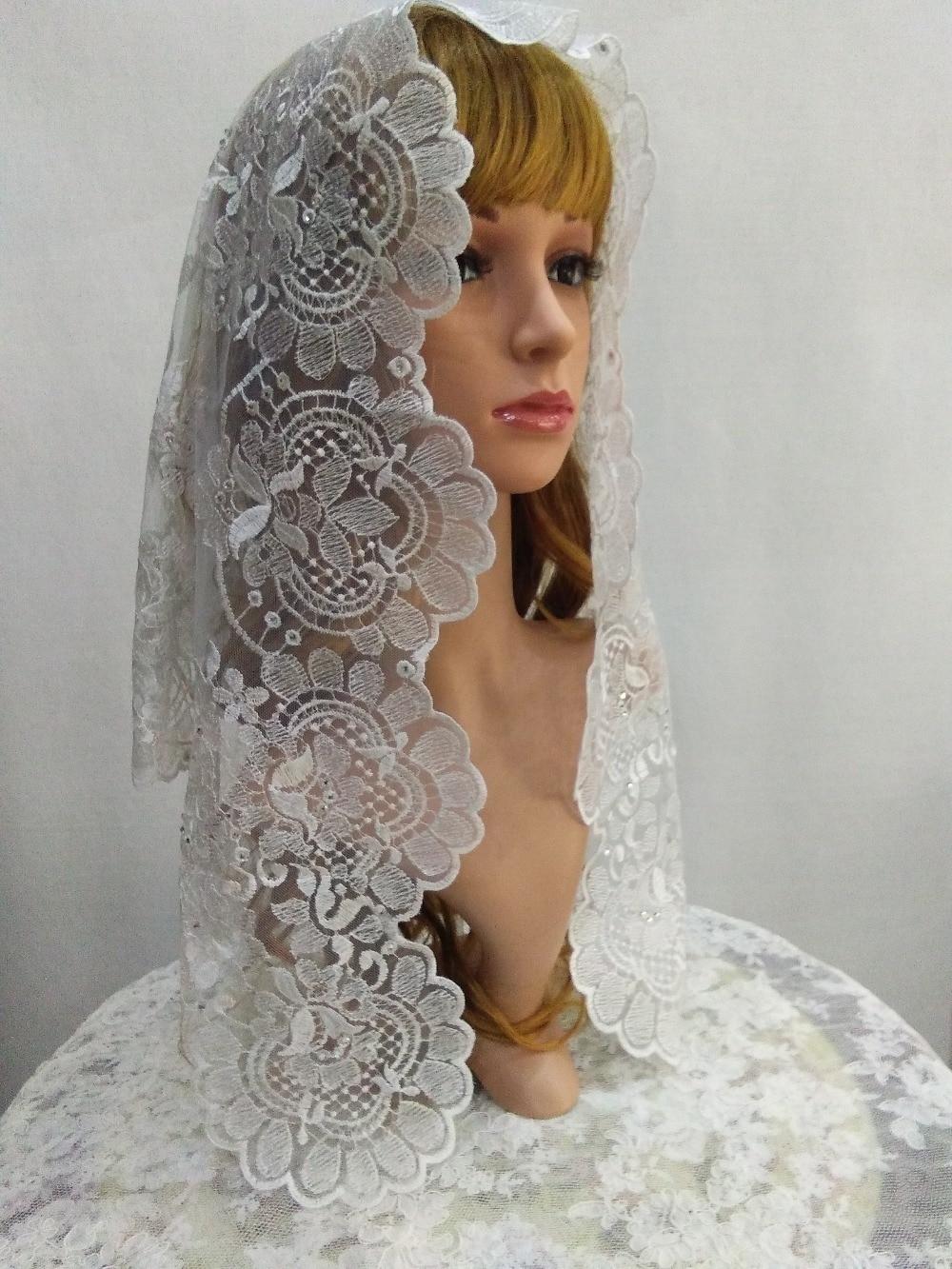 White Embroidery Spanish Lace Mantilla Veil with shinning beads Catholic Veils