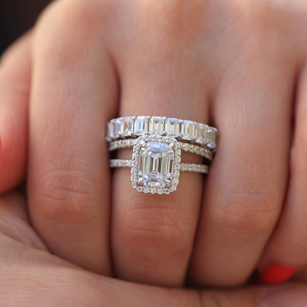 خاتم خطوبة مويسانيتي هالو من الذهب الأبيض عيار 14 قيراطًا ، خاتم خطوبة مرصع بالألماس المختبر للنساء