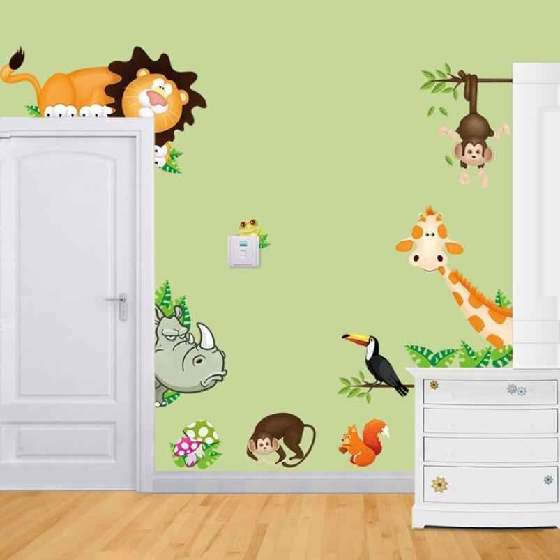 Removível diy adesivo de parede girafa macaco selva animal mural decalques para o berçário do bebê crianças quartos papel de parede decoração da sua casa