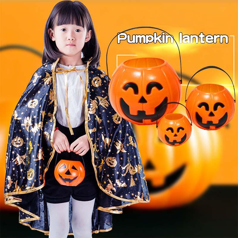 LED Paper Pumpkin Hand Lantern Light Candy Bucket Lamp Halloween Party Kids Children Toy Props MJJ88