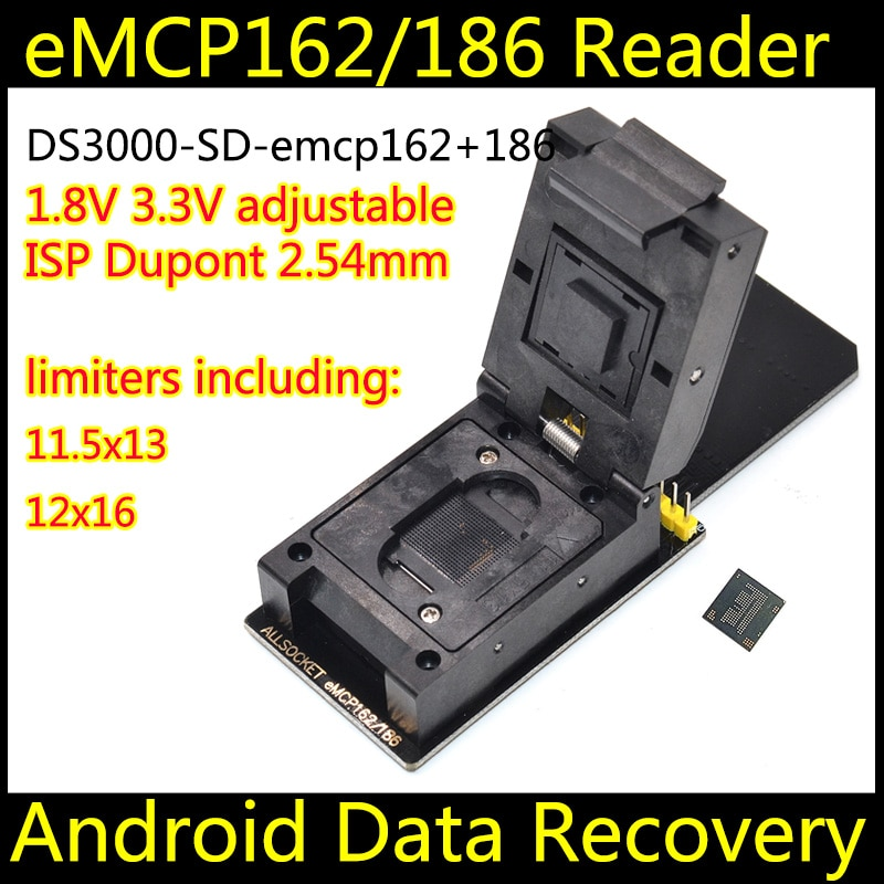 EMCP221 socket SD met 5 size limiters, eMCP programmeur eMCP socket eMCP adapter reader, BGA221 SD Data Recovery