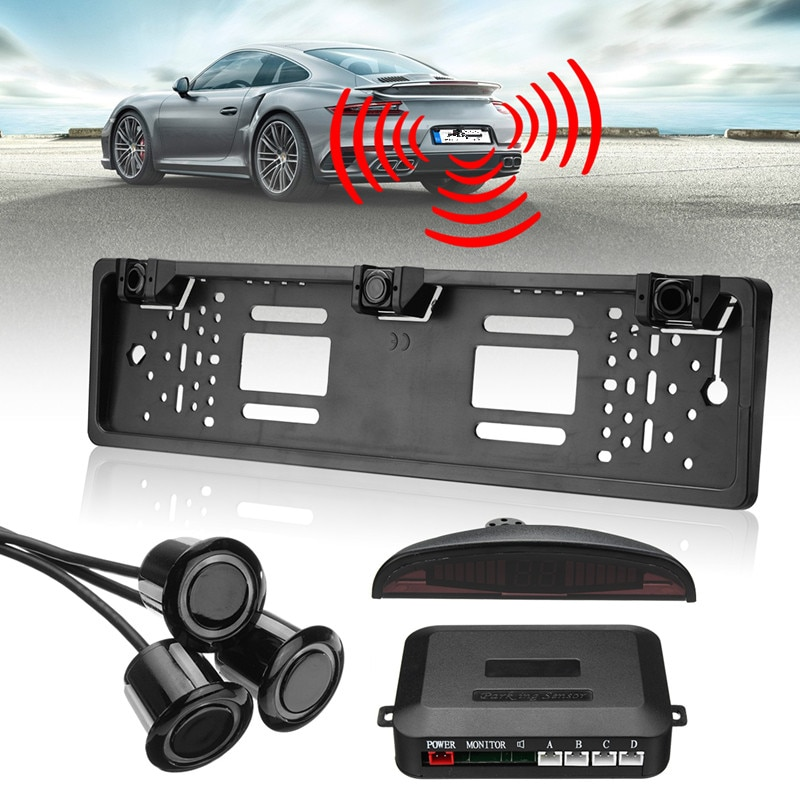 12DC Universal marco para matrícula coche inalámbrico reverso aparcamiento Sensor sistema Número de kit