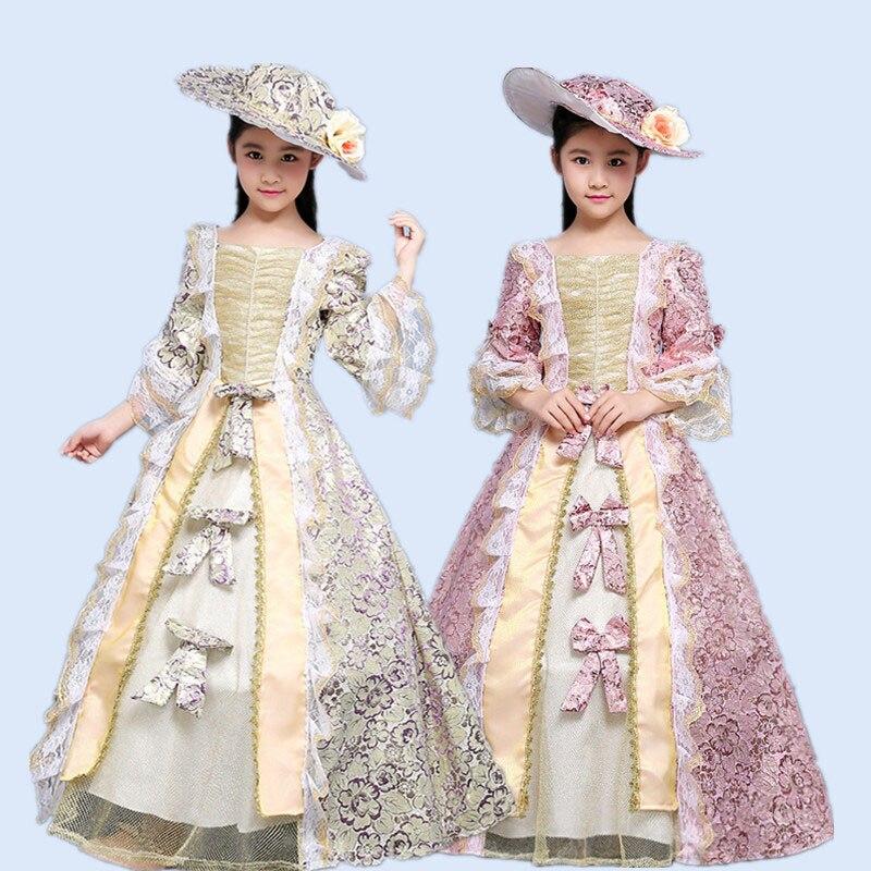 ¡Novedad de 2018! VESTIDOS Retro para fiestas victorianas con encaje floral en 5 colores para niños, vestidos de noche, ropa de teatro