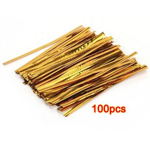Pacote quente 100 ouro ferro fio prendedor torção gravata saco doces biscoito pirulitos