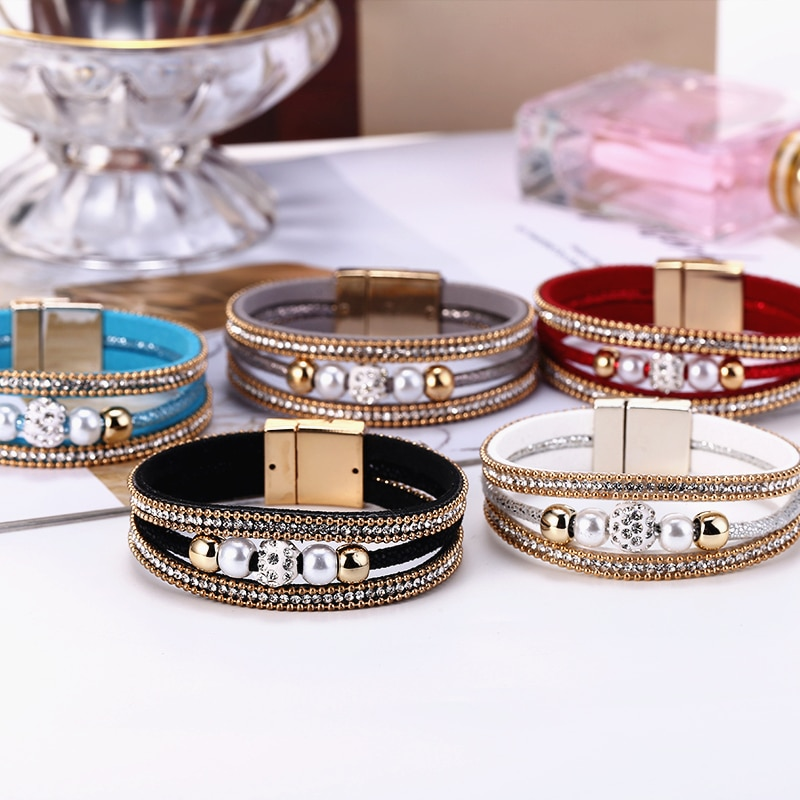 HOCOLE, pulsera de cuero de perlas de cristal a la moda para mujer, pulsera de cadena con abalorios de múltiples capas, pulsera de mujer, regalo de fiesta, joyería