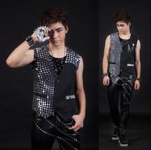 Homme sans manches gilet hommes 2020 été style paillette mince punk rock costumes hombre chalecos chanteur danse scène européenne noir