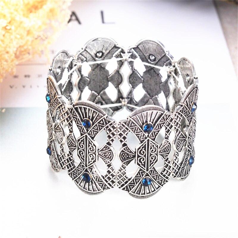 Breite Einstellbare Strang Armband Für Frauen Marke Carving Blume Metall Markasit Armband & Armreifen Vintage-Schmuck
