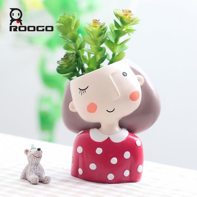 Roogo 4item Succulent Plant Pot Cute Girl Flower Planter Flowerpot Creat Design Home Garden Bonsai Pots Birthday Gift Ideas