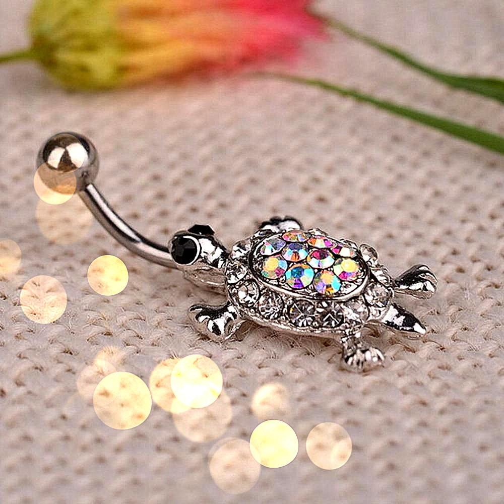 1 Uds. Unisex cristal Multicolor Sexy tortuga colgante Piercing para el cuerpo ombligo anillo de baile para mujeres anillo de joyería gran oferta