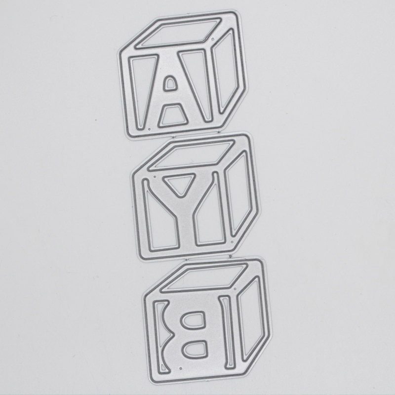 Metal steel frames Cutting Dies hollow Cube letters Decoration  DIY Scrap booking Photo Album Embossing paper Cards4.1*11.9cm