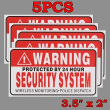 5Pcs/Set Warning Protected by 24 Hour Security System Stickers Saftey Alarm Signs Decal Warning Mark