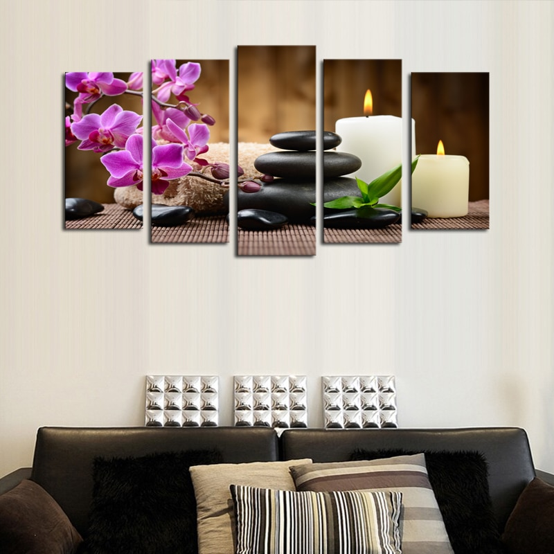 5 Pieces Modular Purple Flowers Candle Picture Canvas Print Painting Artwork Wall Art Canvas Painting HD Print Painting Framed