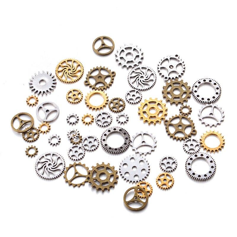 50g 10-26mm cor mistura engrenagem mecânica steampunk retro diy artesanal liga jóias acessórios poke dente roda de metal