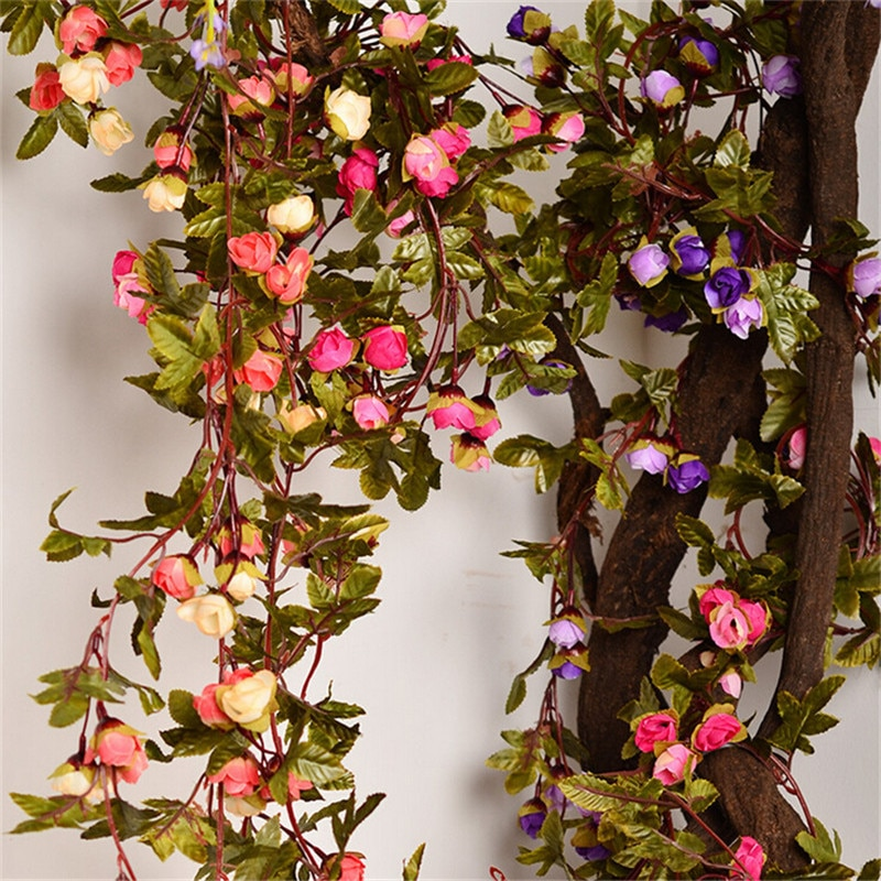 Rosas de seda falsas de 220cm, flores artificiales de enredadera de hiedra con hojas verdes para decoración colgante para hogar para bodas, guirnalda decorativa