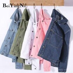 Beiyingni jaqueta feminina outono bf coreano denim jackets mulheres harajuku curto casacos mulher bolsos single-breasted jeans outwears