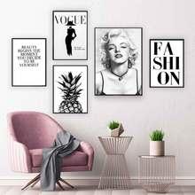 Marilyn Monroe-toile dart murale noire et blanche   Affiches de mode ananas Vogue, citations de couverture, peintures, photos décoration pour la maison