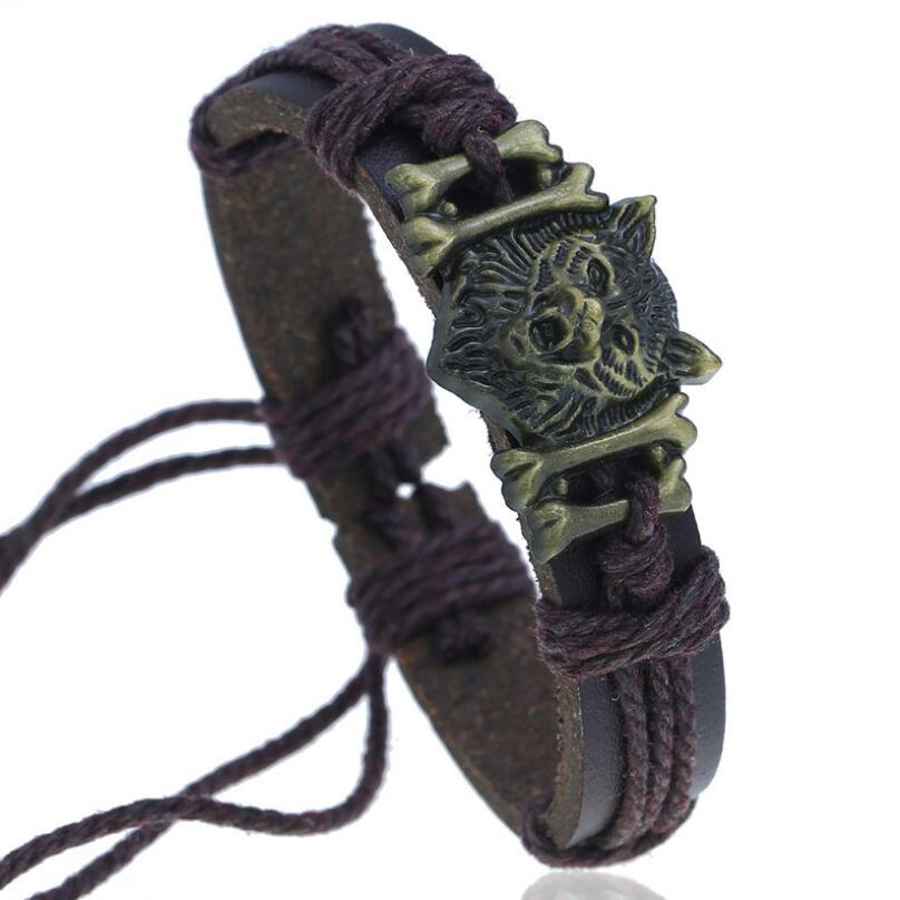 Punk Gothic Rock Men Jewelry Bracelet Cuff Alloy Wolf Bone Charms Vintage Rope Leather Bangle Wrap Women Fashion Wristbands Gift