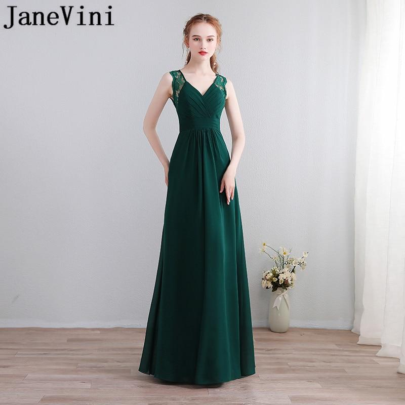 فستان لوصيفات العروس من الشيفون الأخضر الداكن من JaneVini ، فستان جوركن لانج مثير برقبة على شكل v ، فتحة خلفية طويلة ، فستان تخرج لحفلات الزفاف