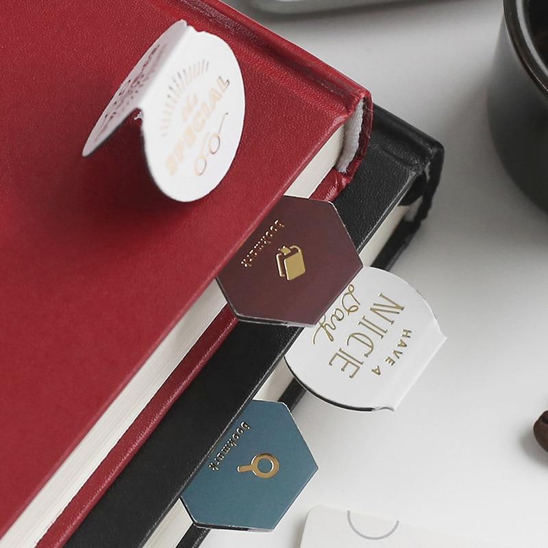 3 unids/set marcador con imán Clips lindo Retro papel de aluminio café Morandi Marcadores de libro de dibujos animados para oficina escuela Escolar regalo de papelería