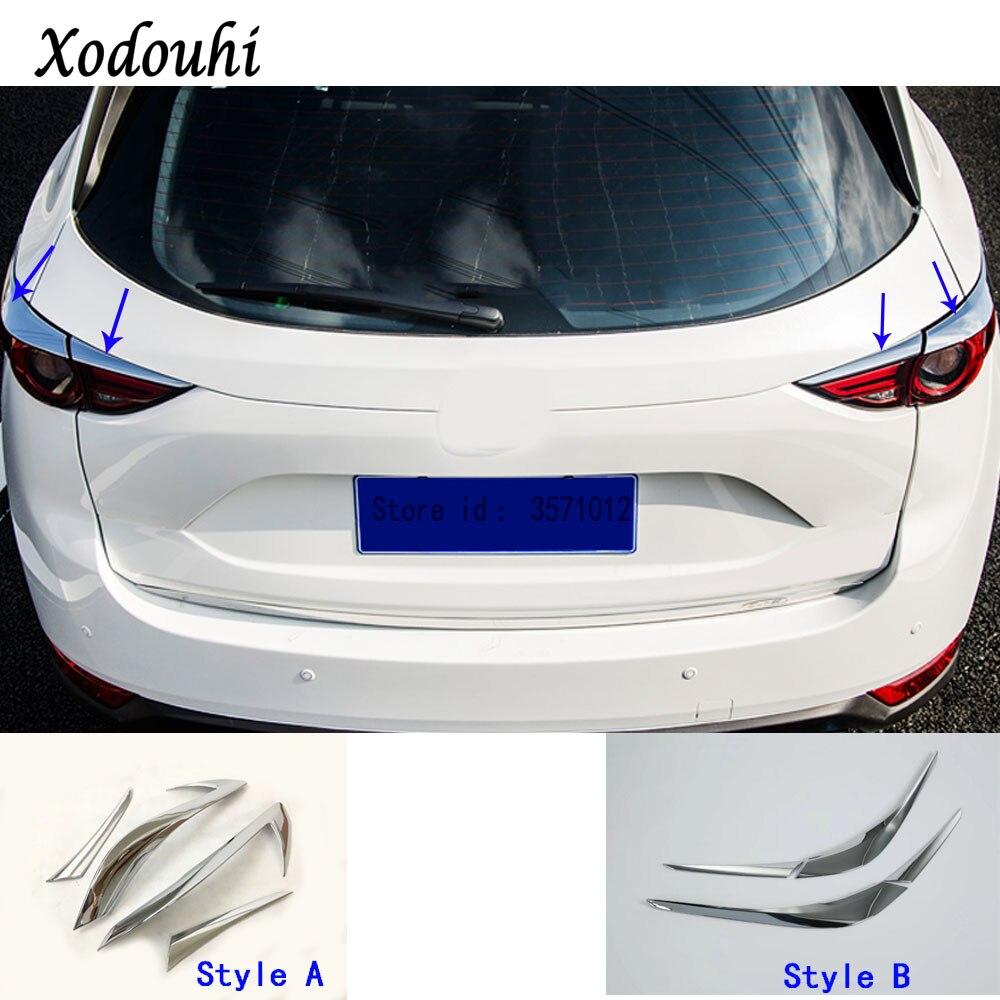 Car Body Rear Tail Light Lamp Detector Frame Stick ABS Chrome Trim Eyebrow Hoods For Mazda CX-5 CX5 2nd Gen 2017 2018 2019 2020