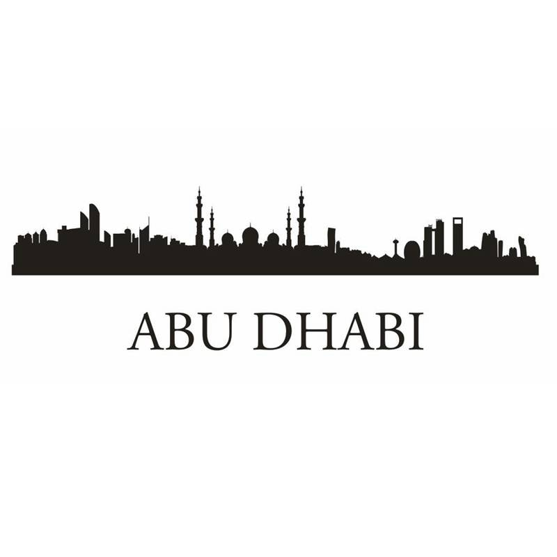 Pegatina de vinilo para pared con diseño de horizonte de ABU DHABI, decoración de arte Mural para sala de estar, decoración del hogar, adhesivo para pared con diseño de horizonte