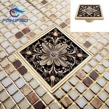 Antique Brass Art Carved Flower Floor Drain Bathroom Shower Square Drain Strainer Wholesale & Retail 10*10
