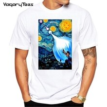 Newest Creative Dragon Ball Z Goku vs vegeta Van Gogh Starry Night Over Art Printed Short Sleeve T-Shirt Fashion Cool Tops Tee