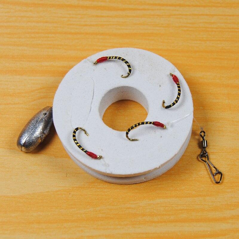 [2 упаковки] 4 приманки Sabiki Nymph Rig, приманка для рыбы, приманка с красной головкой #10 #12 #14