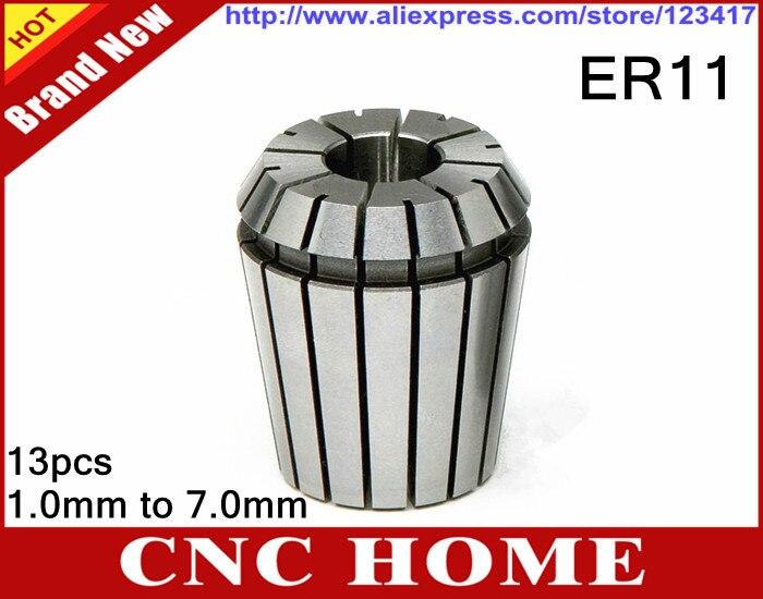 13 unids/lote completo (13 tamaños de 1mm a 7mm) ER11 Pinza de resorte de precisión para enrutador CNC y herramienta de fresado de corte de torno