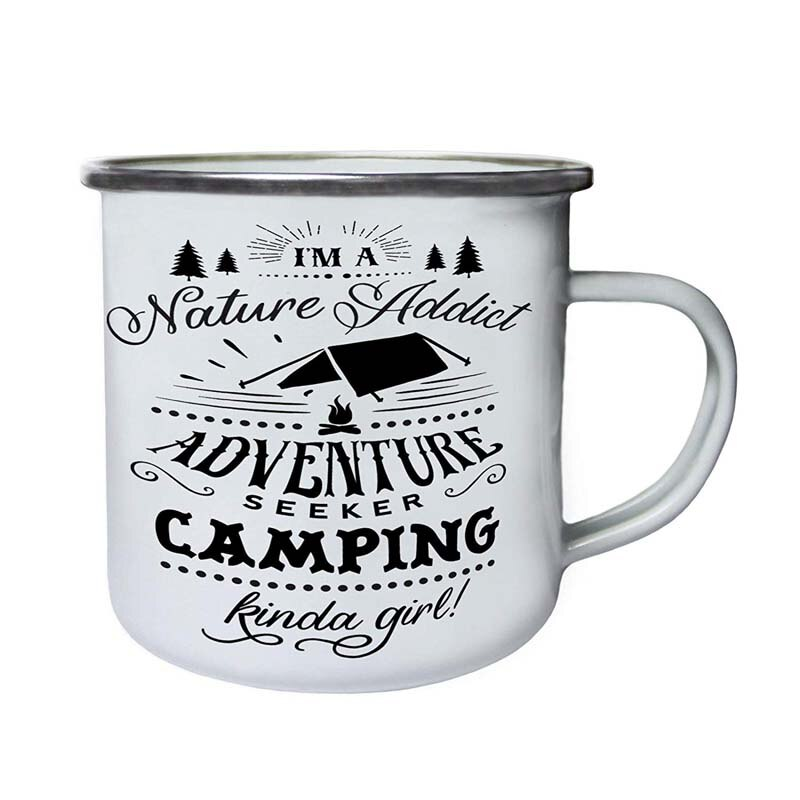 Jarra de café para acampada de acero inoxidable, esmalte Retro para niñas, para cumpleaños y Navidad, esmalte de Metal para exteriores
