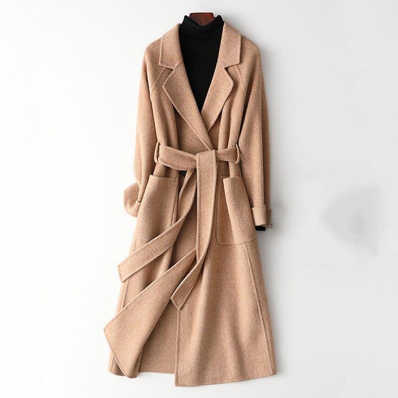 جودة عالية مزدوجة الوجه معطف من قماش الكشمير المرأة طويلة خندق معطف 2019 جديد الصوف يمزج ملابس خارجية الإناث الشتاء الصوف مصدات الرياح