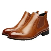 winter furspring mens chelsea bootsbritish style fashion mens dress ankle bootsblackbrownred soft leather casual shoes