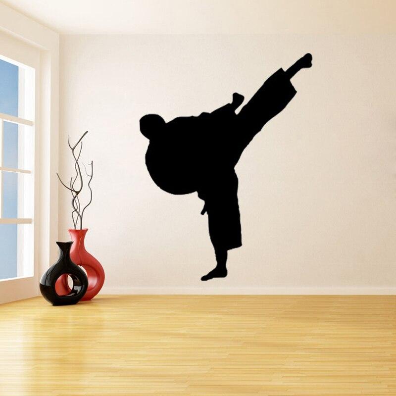 Calcomanía de vinilo para pared pegatina Karate kung fu aikido salón dormitorio decoración gimnasio pegatinas deportivas para pared Taekwondo Arte de la pared Decoración B36