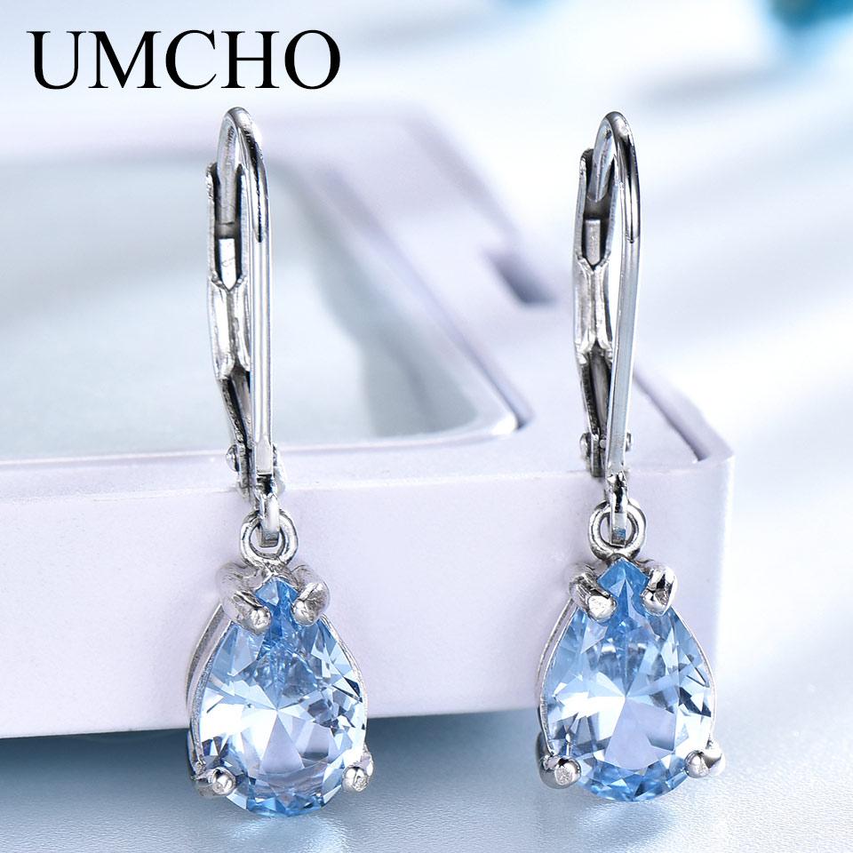 Pendientes de Clip de plata sólida 925 UMCHO para mujer, piedras preciosas de Topacio azul cielo, joyería fina de moda para boda, regalo de San Valentín