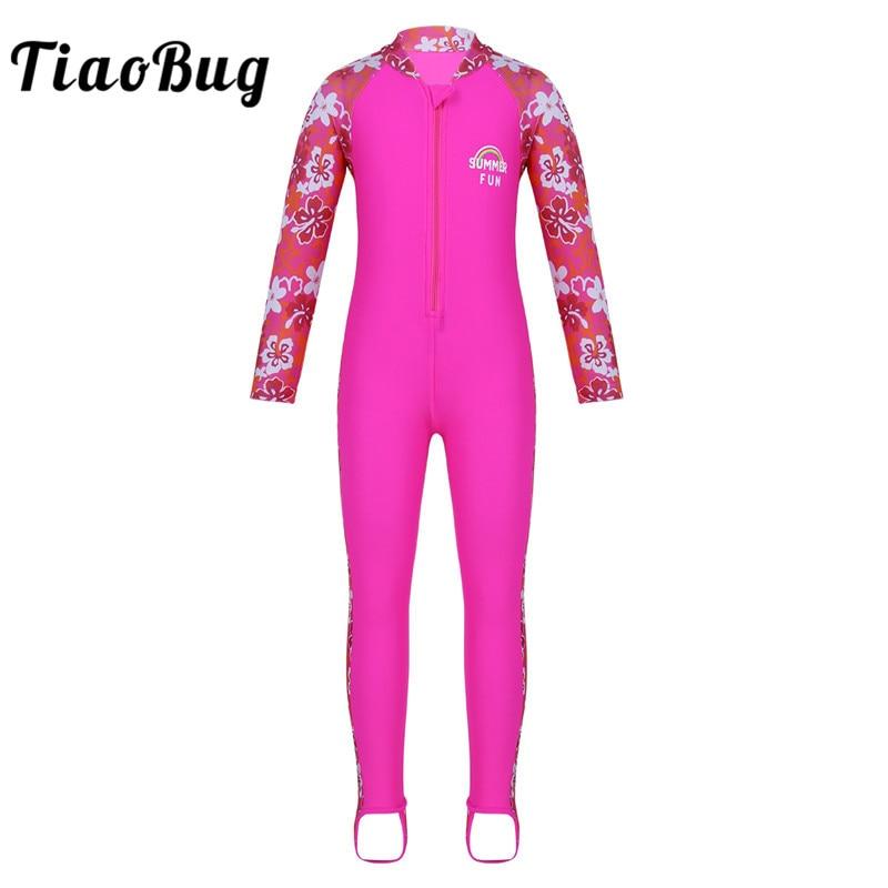 TiaoBug, traje de baño para niños, niñas, azul cielo, de una pieza, estampado de flores, mangas largas, con cremallera, protección contra la erupción, traje de baño, surf en la playa, traje de baño