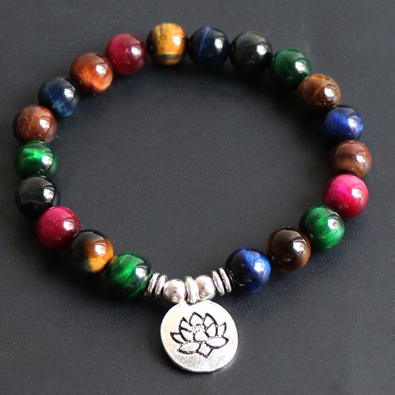 Pulsera de mujer Mala Lotus 7 Chakra pulsera Natural de siete colores Ojo de Tigre piedra de meditación pulsera curativa Mala pulsera