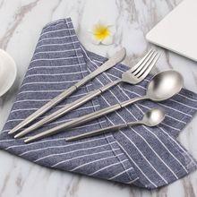 Hot Sale 4 Pcs/set Pure Color Dinnerware knife 304 Stainless Steel Western Cutlery Kitchen Food Tableware Dinner Set