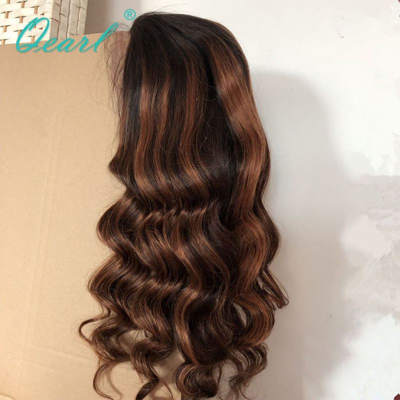 Full lace Wigs 1B/33#/30# Blonde Highlight Ombre Color Human Hair Wigs 180% Density Remy Brazilian Wavy Hair Wigs Qearl