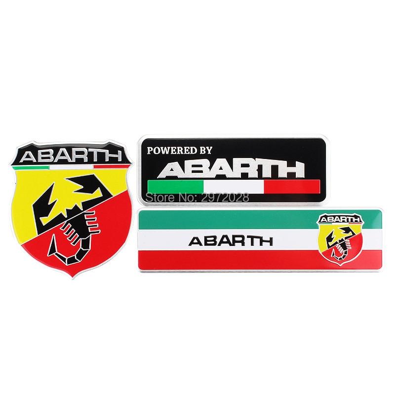 Car Styling 3D Metal Chrome Aluminium Alloy 3D Emblem Badge Sticker Decal Auto Accessory For Fiat Abarth 500 Punto 124 131 125