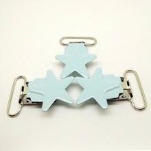 Baby blue star suspender clips 100pcs pacifier clips metal enamel suspender clips