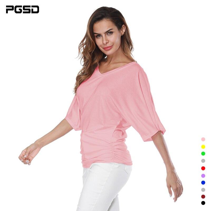 PGSD, camiseta sencilla de color puro, Camiseta holgada de talla grande para mujer con manga murciélago y cuello de pico, camiseta de manga corta, Camiseta holgada de talla grande 5XL