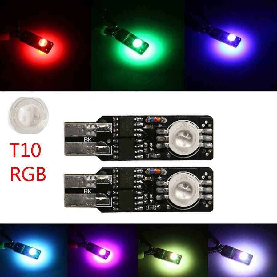 2 pçs/lote Auto Lâmpada Multifuncional T10 W5W 6w RGB de Alta Potência 192 Modo 168 Led Largura Lâmpada Luz Cunha Brilhante 18