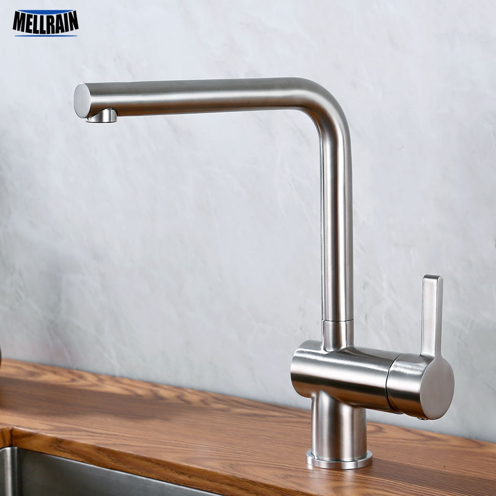 Hot And Cold Water Mixer Kitchen Sink Faucet Stainless Steel Brushed Deck Mounted Solid Faucet Single Handle Kitchen Tap brushed stainless steel pot filler faucet lead free with dual joint swing arm and aerator surface deck mount kitchen mixer tap