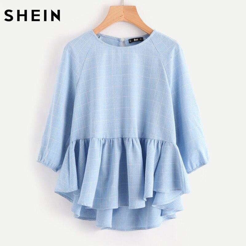 SHEIN manga raglán de Dip Hem red blusa mujer blusas 2017 otoño azul largo medio manga blusa de cuadros