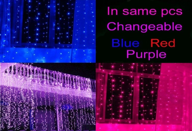 NEW ARRIVAL Real Changeable colors same Pieces Curtain christmas lights 10*3m 8*3m 6*3m 3*3m led ornament light Fairy wedding