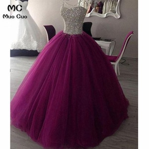 2018 Elegant Ball Gown Evening Dresses Long with Crystals Beaded Sweetheart Tulle Lace up Formal Evening Party Dress
