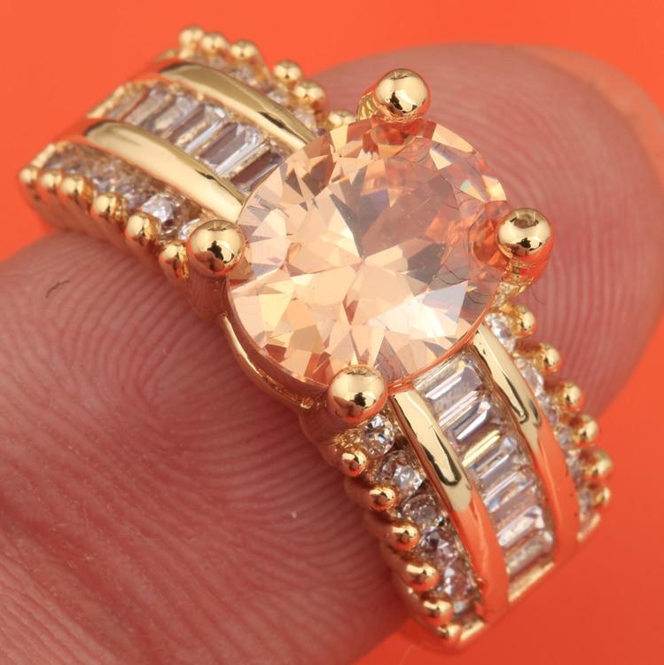 Agradável Jóias de Ouro Zircão Champagne Morganite Gems Solitaire Anel US # Size 6/7/8/9 S1874